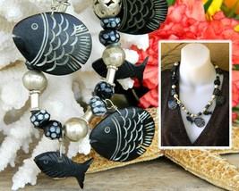 Vintage Fish Necklace Hand Carved Black Wood Silver Balls Glass Beads - $27.95