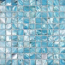 Hominter 6-Sheets Backsplash Tiles Blue Shell Mosaic Square, Colorful Mother of  - $129.45