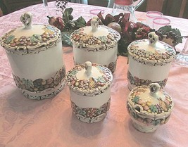 Vintage Lefton China 8 piece canister set + jam jar Della Robbia pattern - $62.40