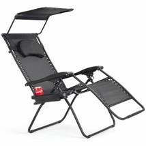Durable Folding Recliner Black Lounge Chair w/Canopy & Cup Holder - $103.99