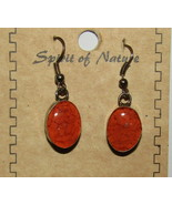Orange Earrings Chip Stone Inlay New Hook Silver Tone Spirit of Nature H... - $13.85