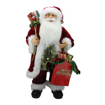 "Northlight 24"" Poinsettia Standing Santa Claus Figure ""Merry Christmas"" ... - $68.05"