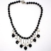 SILVER 925 NECKLACE, ONYX BLACK ROUND, WHITE PEARLS, FRINGE, CASCADE image 2