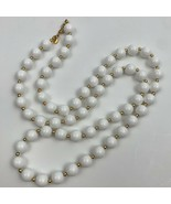 Vintage Monet White Plastic Beaded Necklace Gold Tone Signed Single Strand - $11.84