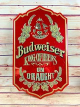 "Vintage Budweiser ""King of Beers"" Red Tin Bar Wall Sign Man Cave On Draught - $55.00"