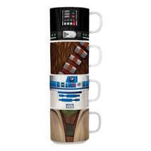 Star Wars Character Image Bust, Four Pack Stacking Ceramic Mug Set, NEW ... - $29.02