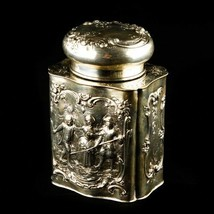 Antique German Repousse Tea Caddy Jar 800 Silver Scenes of Play w/ Lid 2... - $687.85