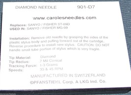 NP-7 Diamond Needle for Crosley KEEPSAKE DIRECTOR Turntable Record Player 901 image 2