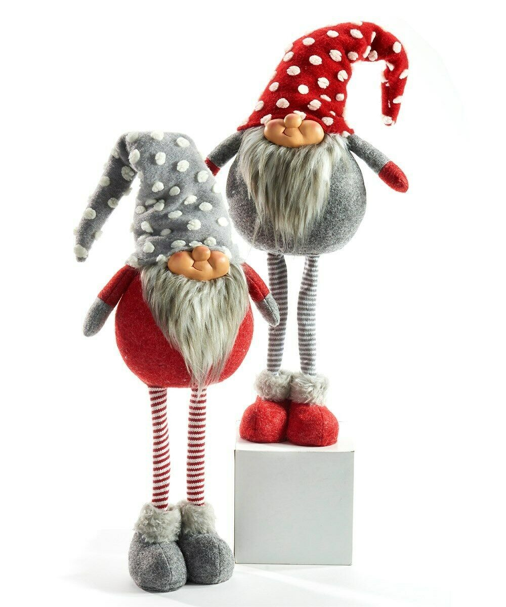 "Set of 2-27"" Standing Polyester Gnomes Stripped Stockings and Knit Sweater & Hat"