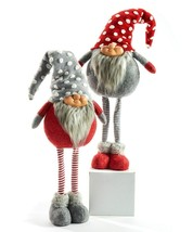 """Standing Polyester Gnomes Set of 2-27"""" Stripped Stockings and Knit Sweater & Hat"""