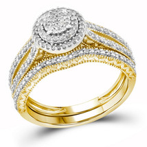 10kt Yellow Gold Womens Round Diamond Cluster Bridal Wedding Ring Set 1/3 Cttw - $559.00