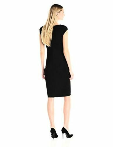 Anne Klein Women's Black Jersey Stretch Double Twist Front Dress Size 8 $120