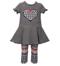 Girls size 12M Bonnie Jean Heart Applique Striped Dress and Printed Legg... - $34.60