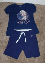 Justice Girls Outfit Frozen Anna Navy shirt and Shorts size 8 mm - $10.00