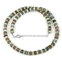 Peruvian Turquoise & Labradorite Beaded Necklace with 925 Sterling Silve... - $49.99