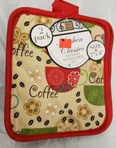 "Set of 2 Printed JUMBO Pot Holders, 7"" x 8"", COFFEE CUPS & BEANS w/ red ... - $7.91"