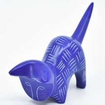 Vaneal Group Hand Carved Kisii Soapstone Dark Blue Pouncing Kitten Cat Figurine image 2