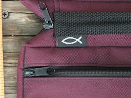 "GREGG GIFT ~ BIBLE Zipper Case w/ Ichthys Burgundy 6.5"" x 9.5"" x 2"" ~ SH... - $24.99"