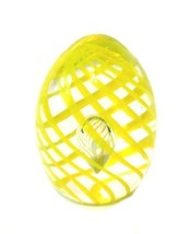 Vintage Paperweight Yellow Swirl Tear Drop Inclusion Art Glass Polished ... - $48.47