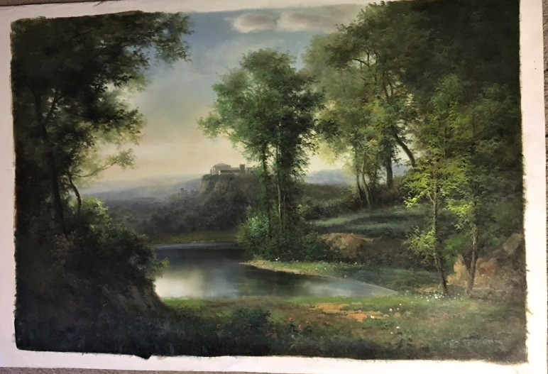 Landscape by K. Adams Original Oil Unstretched Painting Beautiful One Of Kind