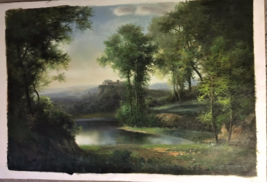 Landscape by K. Adams Original Oil Unstretched Painting Beautiful One Of... - $790.00