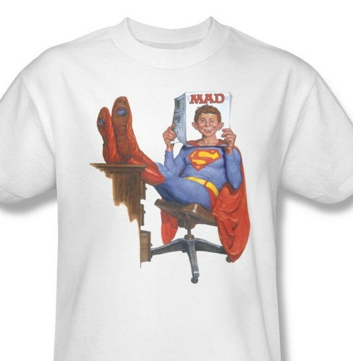 MAD Magazine SUPERMAN T-shirt Alfred E Newman DC Comics cotton tee  WBT345