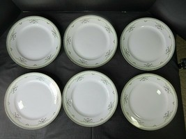 6 Vintage 1920's Noritake Lincoln Dinner Plates Green Scrolls Pink Roses - $22.86