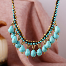 nepal thai india turquoise copper bead pendant wax cord knit choker neck... - $14.90