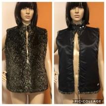 GUESS ALARA VEST JACKET Womens Black Soft & Plush Faux Fur REVERSIBLE Si... - $58.41