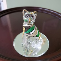 Glass Cat Figurine on mirrored base, painted with yellow green stripes, Kitty image 7