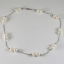 Necklace 18kt white gold with white pearls round 8.5mm diameter image 2