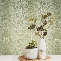 Wallpaper textured Victorian damask green gold striped wall coverings ro... - $2.99+
