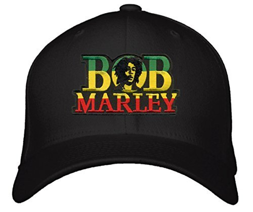 Bob Marley Hat - Unisex Adjustable Black - Reggae Rasta Jamaica