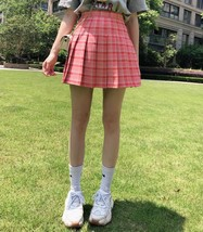 Red Plaid Tennis Skirt Women Girls Plaid Pleated Mini Skirt Plus Size image 4