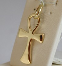 SOLID 18K YELLOW GOLD, ANKH CROSS OF LIFE PENDANT, LENGTH 1,1 IN MADE IN ITALY image 2