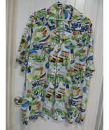 Mens Hawaiian Short Sleeve Snap Shirt Large Palm Trees woody 3XL Custom ... - $14.84