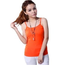 Super Soft Active Sports Shaping Tank Top Strappy Scoop Neck Camisoles Orange