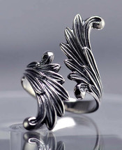 Celtic Moon Goddess Angel wings Fairy Ring Genuine Sterling silver .925 ... - $49.49