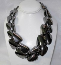 Chico's Chunky Metallic Hematite-Colored Dual Strand Beaded Necklace Ret... - $21.78