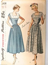Vintage UNUSED 1940s Sewing Pattern Simplicity #2908 1 PC Dress Size 12 ... - $22.74