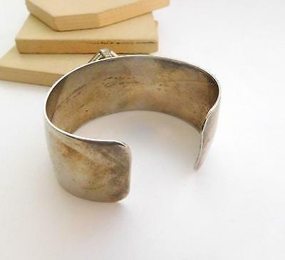 Retro Wide Chunky Industrial Mod Pink Stone Silver Plated Cuff Bracelet O22 image 3