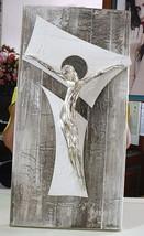"HANDMADE BIG PANEL WALL CRUCIFIX, PAINTED WOOD, STYLIZED CHRIST, 23.6"" ITALY image 2"