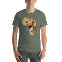 Africa Cheetah face Short-Sleeve Heather Forest T-shirt Men - Big Cats Tees - $34.00+