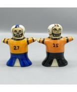 Hartstone Football Player Salt & Pepper Shakers Black Orange Blue 25 27 ... - $13.94