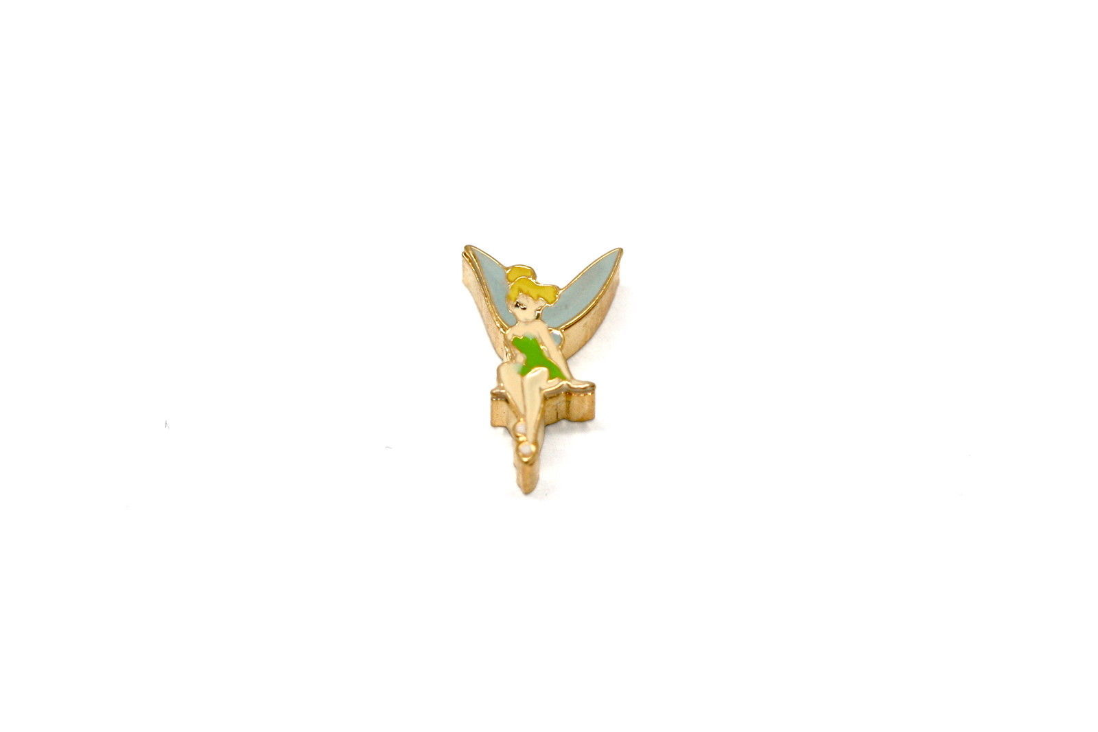 BRACCIALE DISNEY TINKERBELL HAND STAINLESS STEEL GOLD PLATED FLOATING CHARM
