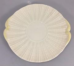 "Belleek Neptune Bread Cake Plate Yellow Handled 10"" Third Green 6th Mark... - $83.30"