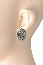 "1.1/8"" Classy Dark Gray Rhinestones Clip On Earrings Evening, Casual Chic - $14.20"