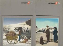 2 Swissair Menus 1931-1981 Jubilee Year Economy Class Airplane Covers - $20.79