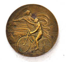 Vintage Cyclotourisme Velocipede Angel w Wheat Bicycle Medal Bronze 42mm... - $197.99