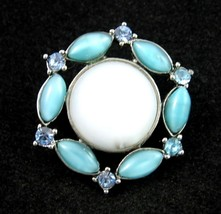 LIZ CLAIBORNE Glass White & Light Blue Cabs LAPEL PIN Vintage Brooch Sil... - $16.99